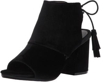Kenneth Cole Reaction Women's Reach the Stars Peep Toe Flared Heel Lacing Tassel Detail-Velvet Ankle Bootie