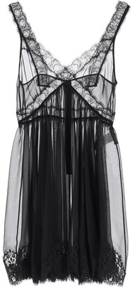Dolce & Gabbana CHIFFON LINGERIE MINI DRESS 42 Black Silk