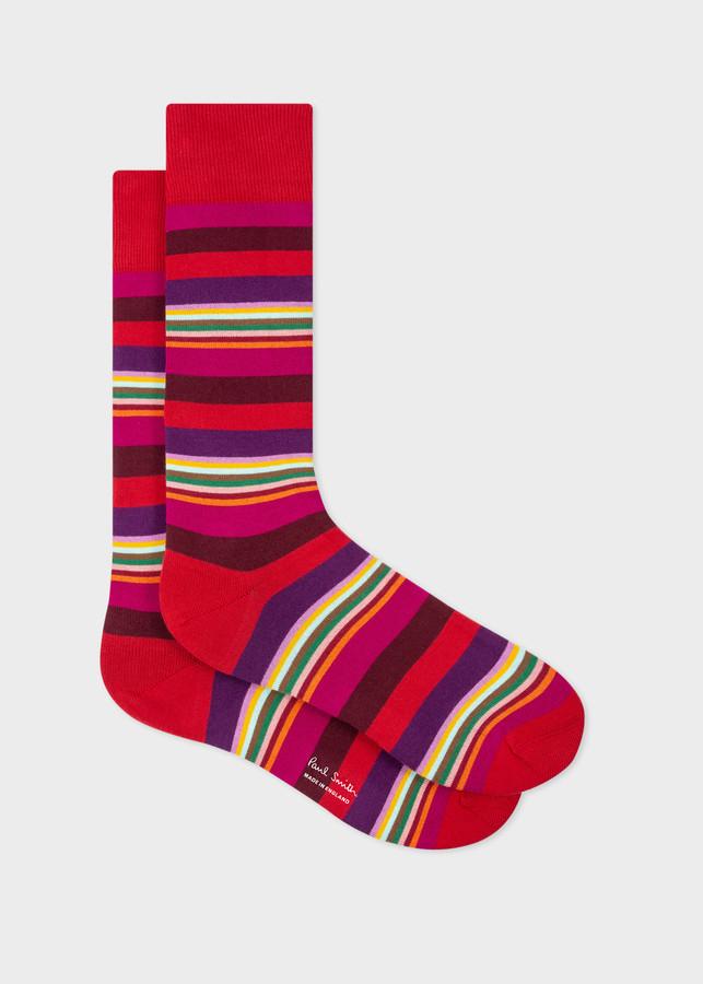 Paul Smith Men's Red Tonal And Multi-Stripe Socks