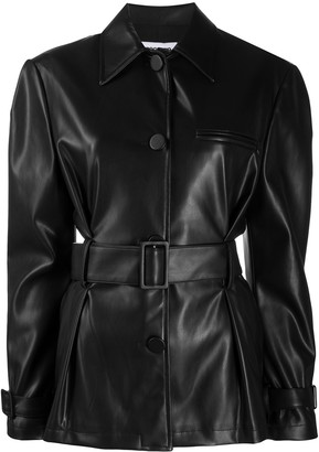 BROGNANO Faux Leather Belted Jacket