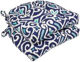 Bed Bath & Beyond New Damask Reversible Chair Pads in Blue (Set of 2)