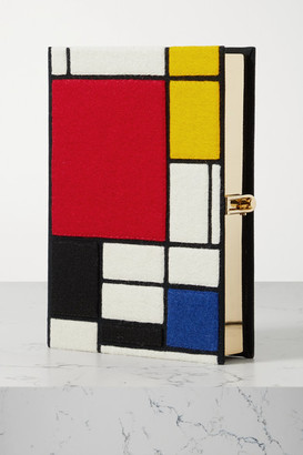 Olympia Le-Tan Mondrian Embroidered Appliqued Canvas Clutch