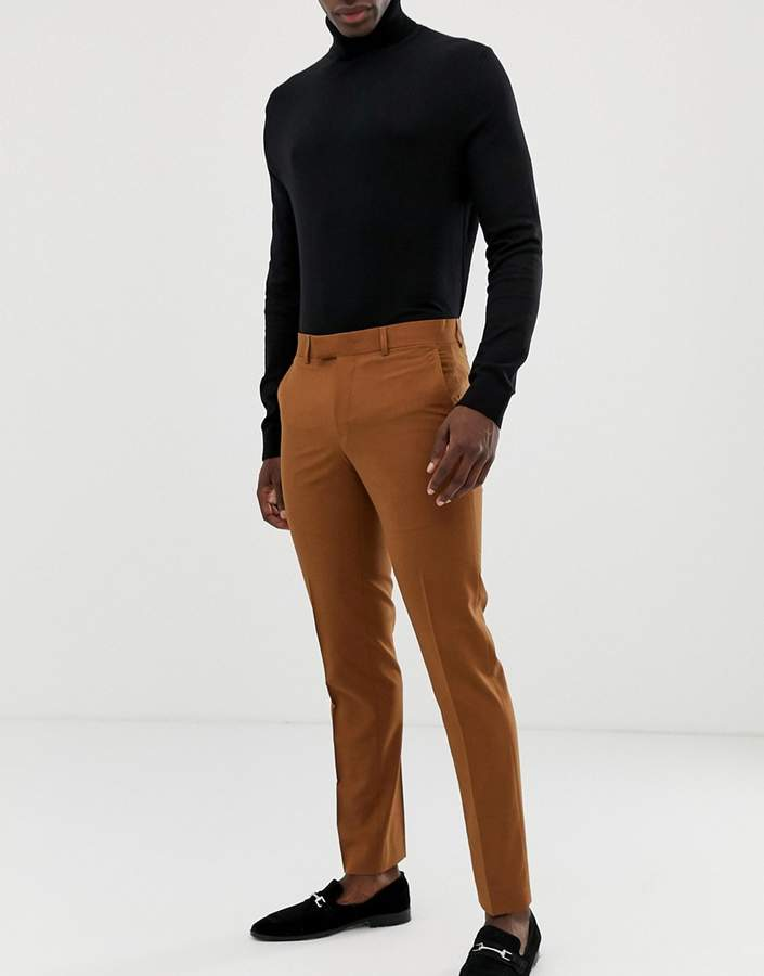 Farah Smart Henderson skinny suit pants in tan