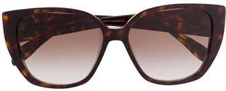 Alexander McQueen Eyewear Tortoiseshell Cat Eye Frames With Gold Logo
