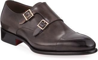 Santoni Men's Ira Leather Double-Monk Loafers