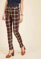 ModCloth Slow and Edgy Wins the Race Pants in Red Plaid in S