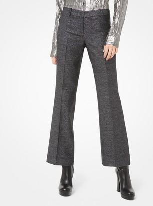 Michael Kors Metallic Wool-Blend Cropped Flared Trousers