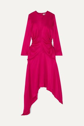 MATÉRIEL Asymmetric Cutout Silk-satin Midi Dress - Fuchsia