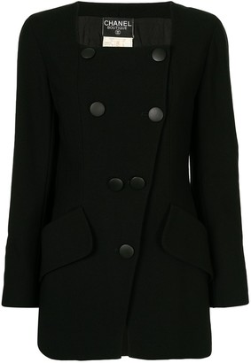 Chanel Pre Owned Square-Neck Double-Breasted Jacket