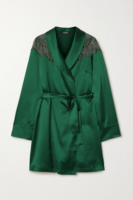I.D. Sarrieri Embroidered Tulle-trimmed Silk-blend Satin Robe - Emerald