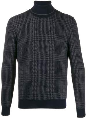 Altea jacquard check roll neck jumper