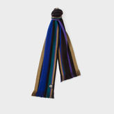 Paul Smith Men's Black Reversible Striped Wool Scarf