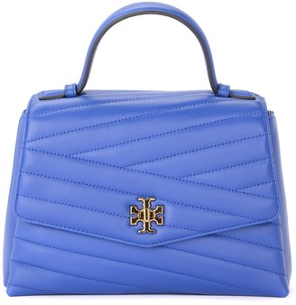 Tory Burch Kira Chevron Shoulder Bag In Blue Quilted Leather