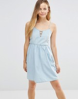 Only Denim Skater Dress With Tie Up Front