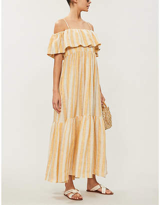 Three Graces London Ida cold-shoulder linen-blend dress