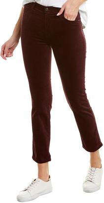 AG Jeans The Isabelle Rich Carmine Velvet High-Rise Straight Crop