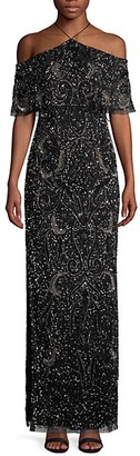 Aidan Mattox Embellished Cold-Shoulder Gown