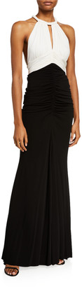 Alexander McQueen Ruched Two-Tone Jersey Halter-Neck Gown