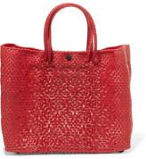 Truss - Small Crossbody Woven Raffia-effect Shoulder Bag - Red