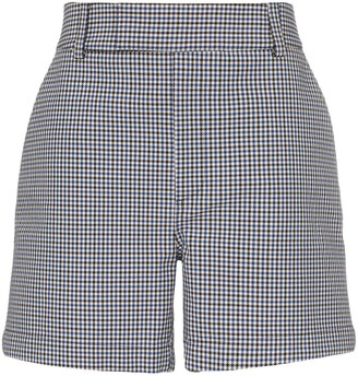 White Houndstooth Print Tailored Shorts