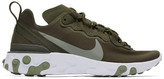 Nike Green and White React Element 55 Sneakers