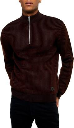 Topman Half Zip Plaited Mock Neck Sweater