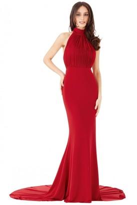 Goddiva OUTLET Halter Neck Fishtail Maxi Dress - Red