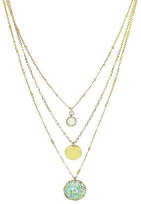 Panacea Crystal Mint Pendant Layered Necklace