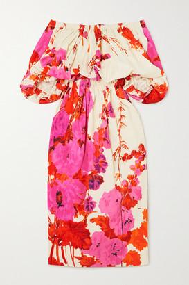 Dries Van Noten Off-the-shoulder Gathered Floral-print Poplin Midi Dress - Fuchsia