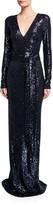 Naeem Khan Long-Sleeve V-Neck Gown