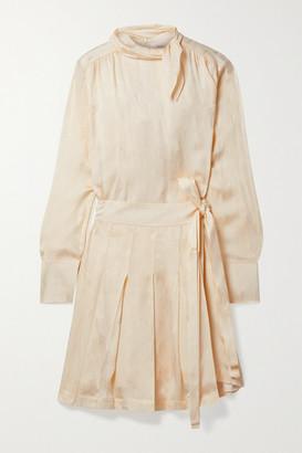 Victoria Victoria Beckham Wrap-effect Pleated Satin-jacquard Mini Dress - Cream