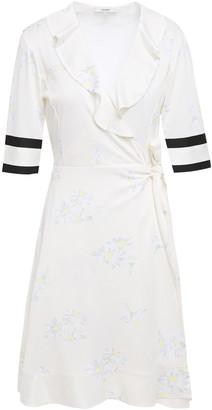 Ganni Dubois Ruffled Floral-print Stretch-pique Wrap Dress