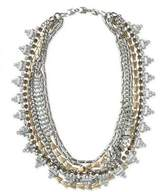 Line & Dot Dot & Line multi layered gold silver crystal statement necklace
