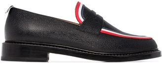 Thom Browne Striped Leather Penny Loafers