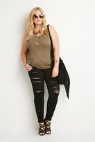 Forever 21 FOREVER 21+ Plus Size Distressed Skinny Jeans