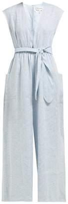 Mara Hoffman Whitney Striped Wide Leg Hemp Jumpsuit - Womens - Blue White