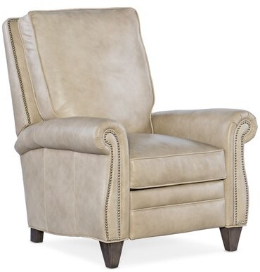"""Thumbnail for your product : Bradington-Young 34"""" Wide Genuine Leather Manual Standard Recliner Body Fabric: Alpine Mushroom, Leg Color: New Classiques, Nailhead Detail: Pewter"""