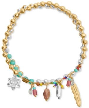 Lucky Brand Two-Tone Three-Row Beaded Charm Bracelet