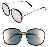 BP Women's 55Mm Mirrored Round Sunglasses - Black/ Pink