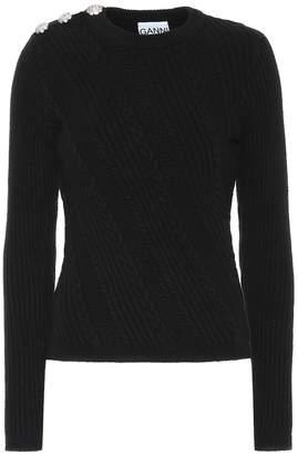 Ganni Embellished cotton-blend sweater