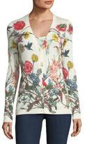 Neiman Marcus Superfine Wildflower-Print Cashmere Cardigan