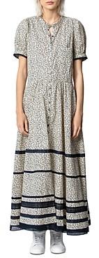 Zadig & Voltaire Regard Floral Print Striped Cotton Maxi Dress