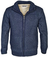 Schott NYC Heavy Textured Sherpa Lined Sweater Jacket