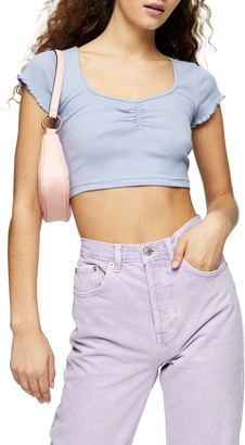 Topshop Lettuce Edge Ruched Crop Top