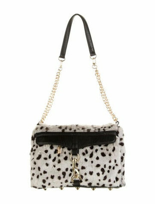 Adrienne Landau Animal Faux Fur Shoulder Bag Grey