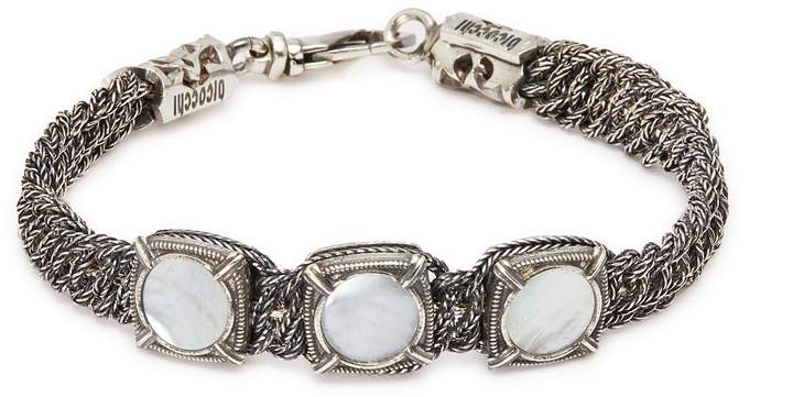 Emanuele Bicocchi Mother-of-pearl braided chain silver bracelet