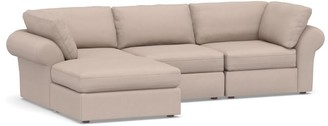 Pottery Barn PB Air Roll Arm Upholstered 4-Piece Sofa with Chaise Sectional