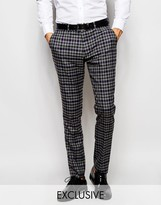Selected Homme Exclusive Multi Colour Check Trousers In Skinny Fit
