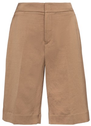 Vince Linen and cotton-blend Bermuda shorts