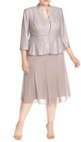 Alex Evenings Mock Two-Piece Tea-Length Dress with Jacket (Plus Size)